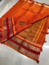 Orange color soft kota cotton saree with jacquard border
