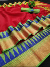Red color manipuri jecquard work saree with exclusive temple border