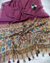 Pink color soft linen saree with traditional print work