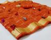 Orange color soft doriya saree with multi butterfly