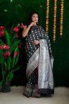 Black color lichi silk weaving saree with zari work