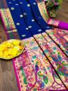 Navy blue color paithani silk saree with weaving pallu