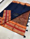 Navy blue color soft kota cotton saree with jacquard border