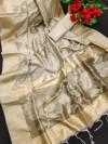 Cream color soft mulberry silk saree with zari woven butta and border