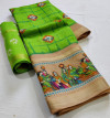 Green color soft linen saree with digital printed