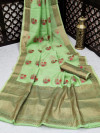 Green color linen cotton saree with zari weaving border