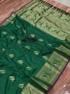 Green color kanchipuram silk saree with golden zari weaving work