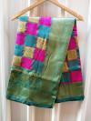 Rama green and pink color soft banarasi silk saree
