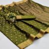 Green color soft cotton silk saree with jacquard weaving buttis