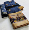 Navy blue color soft linen saree with digital printed