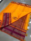 Yellow color soft kota cotton saree with jacquard border