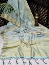 Gray color soft tissue linen silk saree with zari woven butti