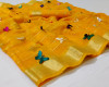 Yellow color soft doriya saree with multi butterfly