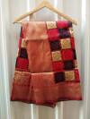 Red and brown color soft banarasi silk saree