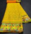 Yellow color brasso silk saree