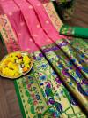 Gajari color paithani silk saree with weaving pallu