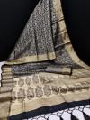 Black color soft kanchipuram silk saree with zari work
