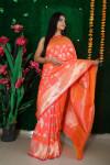Orange color kanchipuram silk handloom saree with zari work