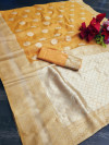 Yellow color soft cotton silk saree with jacquard weaving butta