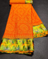 Orange color brasso silk saree