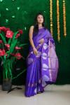 Purple color soft linen silk saree
