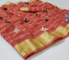 Peach color soft doriya saree with multi butterfly