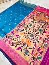 Firoji color paithani silk saree with weaving rich pallu