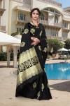 Black color soft banarasi silk saree with golden zari weaving work