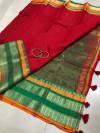 Red color soft kota cotton saree with jacquard border