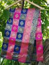 Blue and pink color soft banarasi silk saree