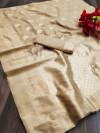 Cream color soft cotton silk saree with jacquard weaving butta