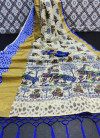 Multi color cotton brasso saree with kalam kari print