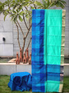 Multi color tussar silk saree with checks and temple weaving border