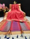Gajari color pure banglori silk saree with ikat woven pallu