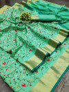 Sea green color assam silk saree with embroidered jal work