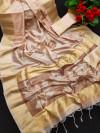 Peach color soft mulberry silk saree with zari woven butta and border