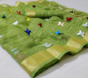 Parrot green color soft doriya saree with multi butterfly