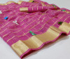 Pink color soft doriya saree with multi butterfly