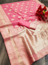 Pink color soft cotton silk saree with jacquard weaving butta