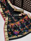 Black color pure jamdani weaving saree with zari work