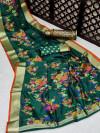 Green color pure jamdani weaving saree with zari work