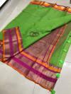 Parrot green color soft kota cotton saree with jacquard border