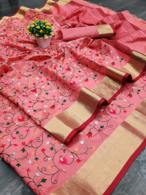 Pink color assam silk saree with embroidered jal work