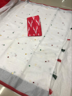 White color linen saree with mirror work