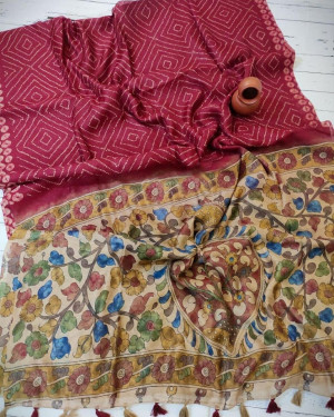 Red color soft linen saree with traditional print work