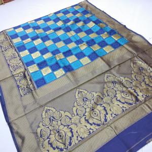 Blue color soft banarasi silk saree