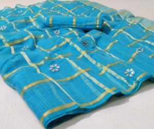 Firoji color gharchola doriya saree with gotha patti butti
