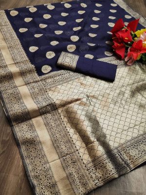 Navy blue color soft cotton silk saree with jacquard weaving butta