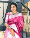 Pink colour Lichi Silk Weaving Work Saree