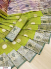 Green color soft cotton weaving work saree